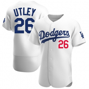 Men's Chase Utley Los Angeles White Authentic Home Official Baseball Jersey (Unsigned No Brands/Logos)