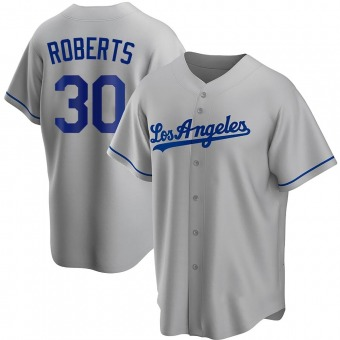 Men's Dave Roberts Los Angeles Gray Replica Road Baseball Jersey (Unsigned No Brands/Logos)