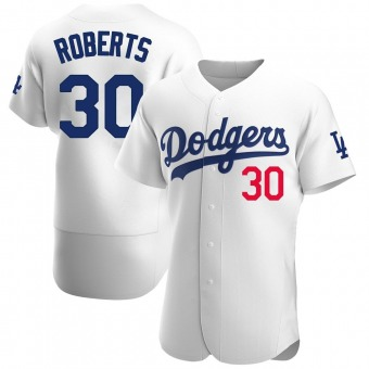 Men's Dave Roberts Los Angeles White Authentic Home Official Baseball Jersey (Unsigned No Brands/Logos)