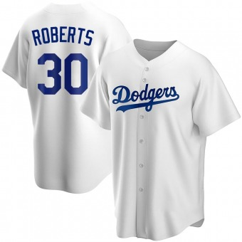 Men's Dave Roberts Los Angeles White Replica Home Baseball Jersey (Unsigned No Brands/Logos)