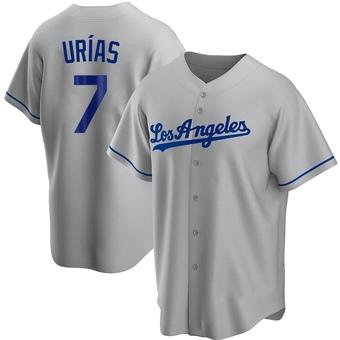 Men's Julio Urias Los Angeles Gray Replica Road Baseball Jersey (Unsigned No Brands/Logos)