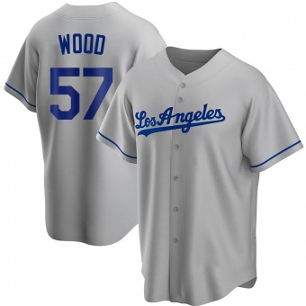 Youth Alex Wood Los Angeles Gray Replica Road Baseball Jersey (Unsigned No Brands/Logos)