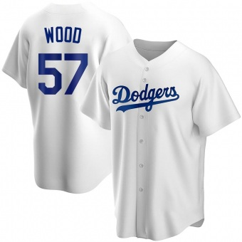 Youth Alex Wood Los Angeles White Replica Home Baseball Jersey (Unsigned No Brands/Logos)