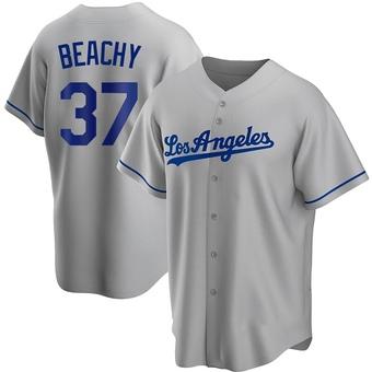 Youth Brandon Beachy Los Angeles Gray Replica Road Baseball Jersey (Unsigned No Brands/Logos)