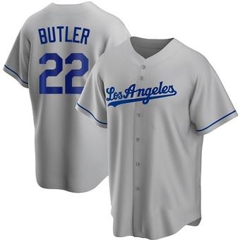 Youth Brett Butler Los Angeles Gray Replica Road Baseball Jersey (Unsigned No Brands/Logos)