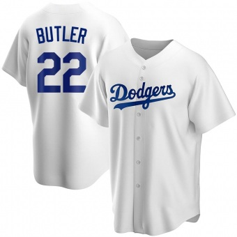 Youth Brett Butler Los Angeles White Replica Home Baseball Jersey (Unsigned No Brands/Logos)